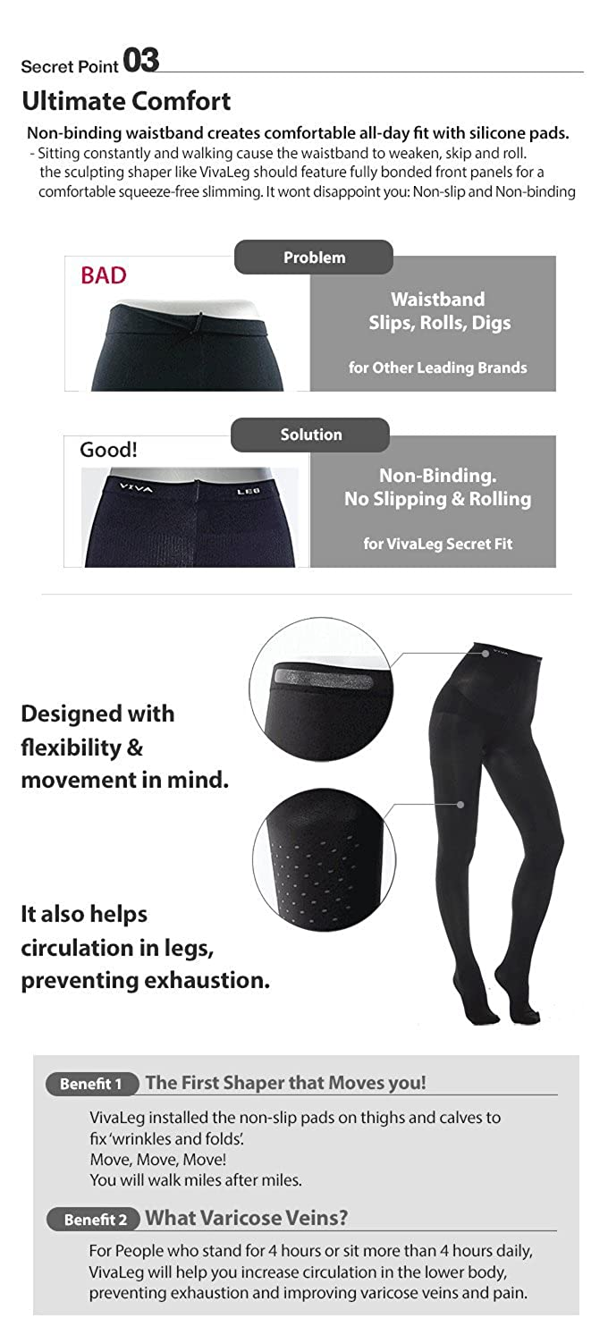 VivaLeg Secret Fit High-Waisted Tights Stockings (M Size) - Leggings Women  Girls Flawless Body Slim Sexy Leg Workout