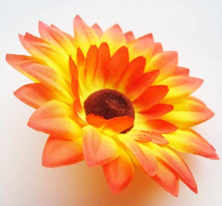 12 Orange Sunflowers Sun Silk Flower Heads Gerber Daisies 3 5