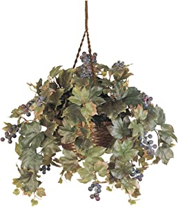 Nearly Natural 6026 Grape Leaf Hanging Basket Decorative Silk Plant, Green