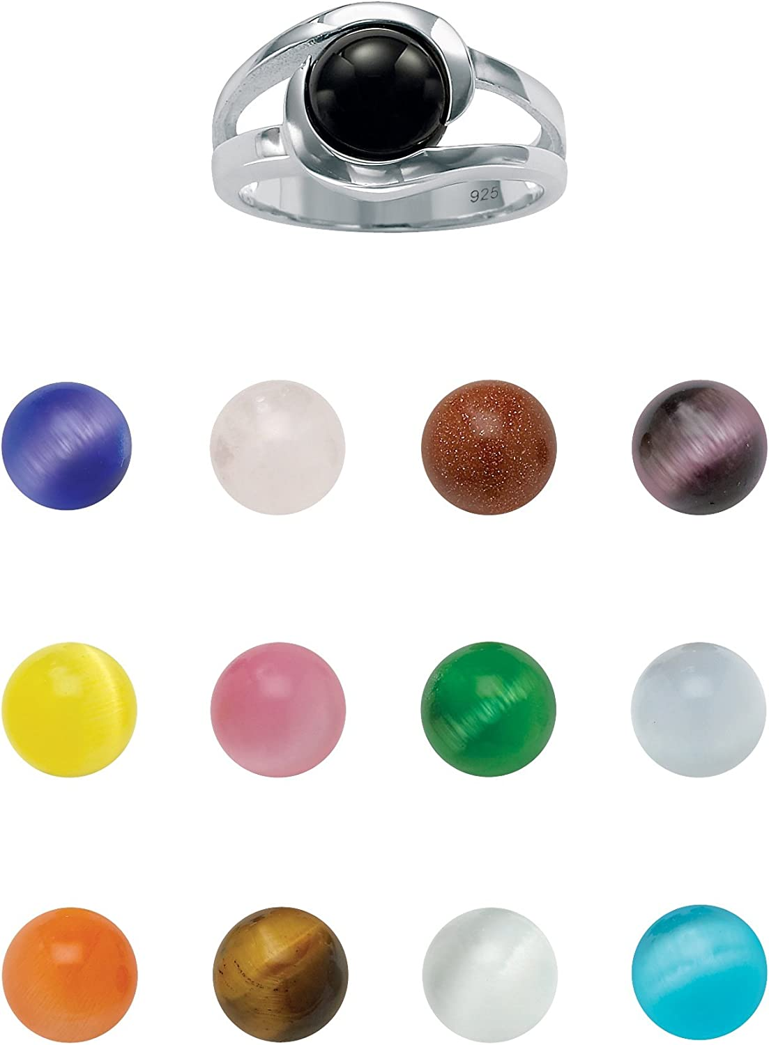 Sterling Silver Round Multicolor Genuine Agate and Simulated Cat's Eye 14 Piece Set Interchangeable Ring