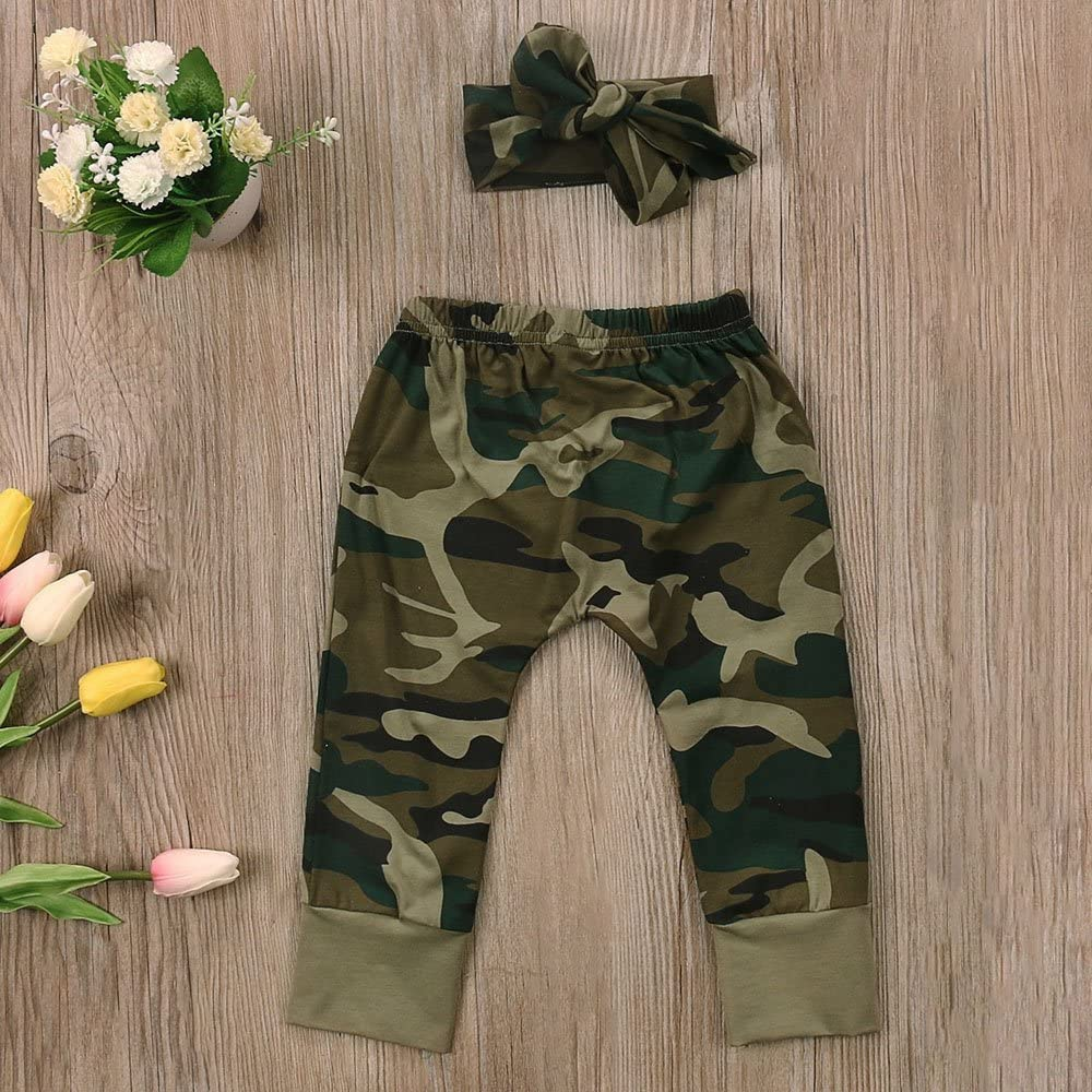 2 Styles Daddy/¡/¯s Baby Boy Girl Camouflage Short Sleeve T-shirt Tops+Green Long Pants