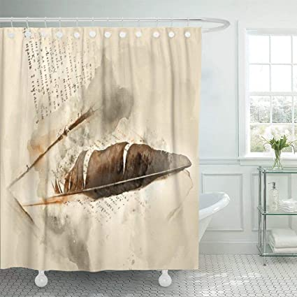 Emvency Fabric Shower Curtain With Hooks Literature Old Religious Book Birds Feather Watercolor Alphabet Historical