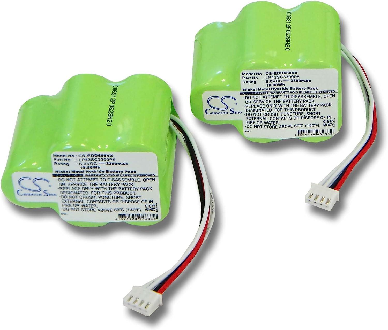 vhbw 2x Batería Ni-MH 3300mAh (6V) para aspirador Ecovacs Deebot D77, D79, D63, D62s como 945-0006, 945-0024, 205-0001, LP43SC3300P5.