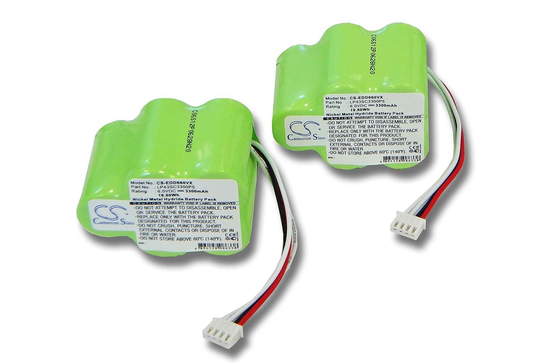 2x vhbw Ni-MH Batteria 3300mAh (6V) per Aspirapolvere Ecovacs Deebot D62,D63,D65,D73,D73n,D76,D77, D79 come 945-0006, 945-0024, 205-0001, LP43SC3300P5 VHBW4251156575881