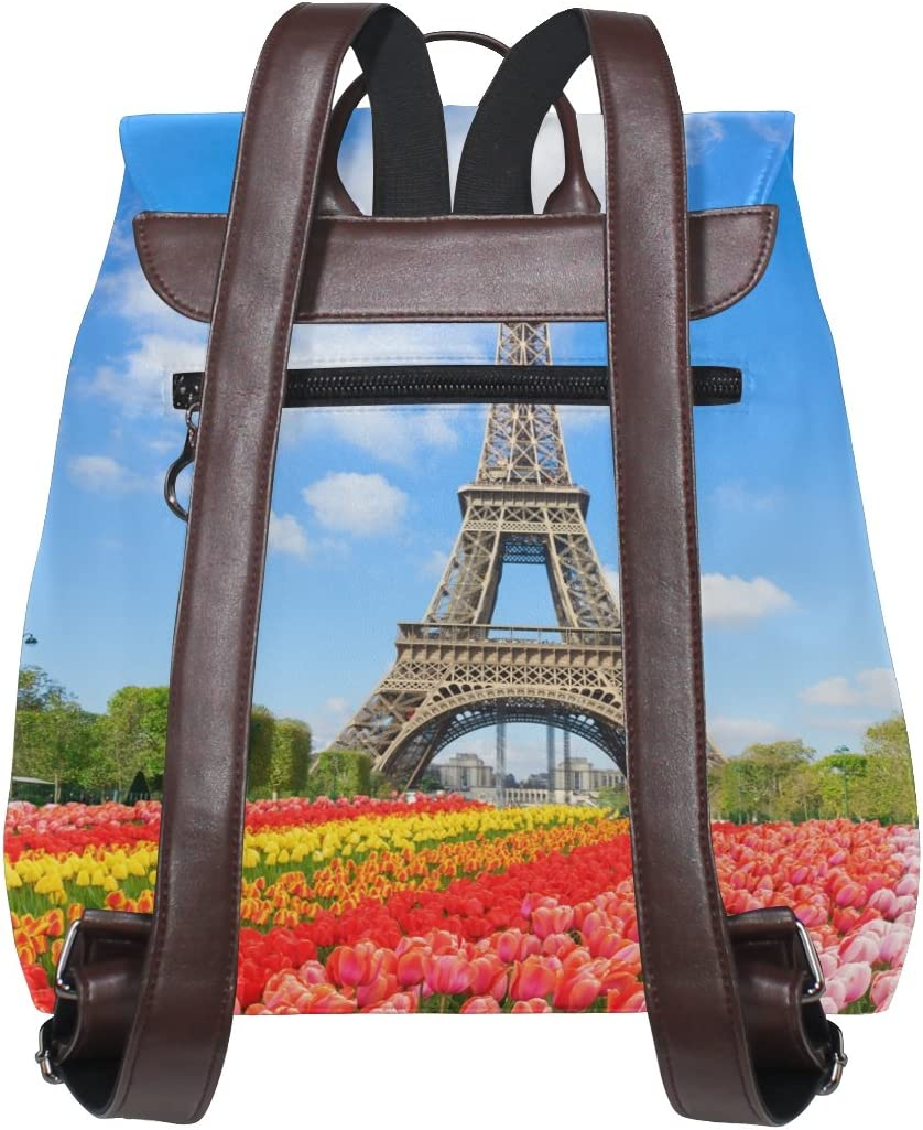 KUWT Eiffel Tower and Tulips Flowers PU Leather Backpack Photo Custom Shoulder Bag School College Book Bag Rucksack Casual Daypacks Diaper Bag for Women and Girl