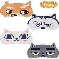 Tacobear 4Stk. Schlafmaske Lustig Augenbinde Augenmaske Süße Schlafbrille mit 3D Ohr Katze Hund Augenbinde Augenabdeckung für Frauen Kinder Zug Bus Flugzeug Reise Büro