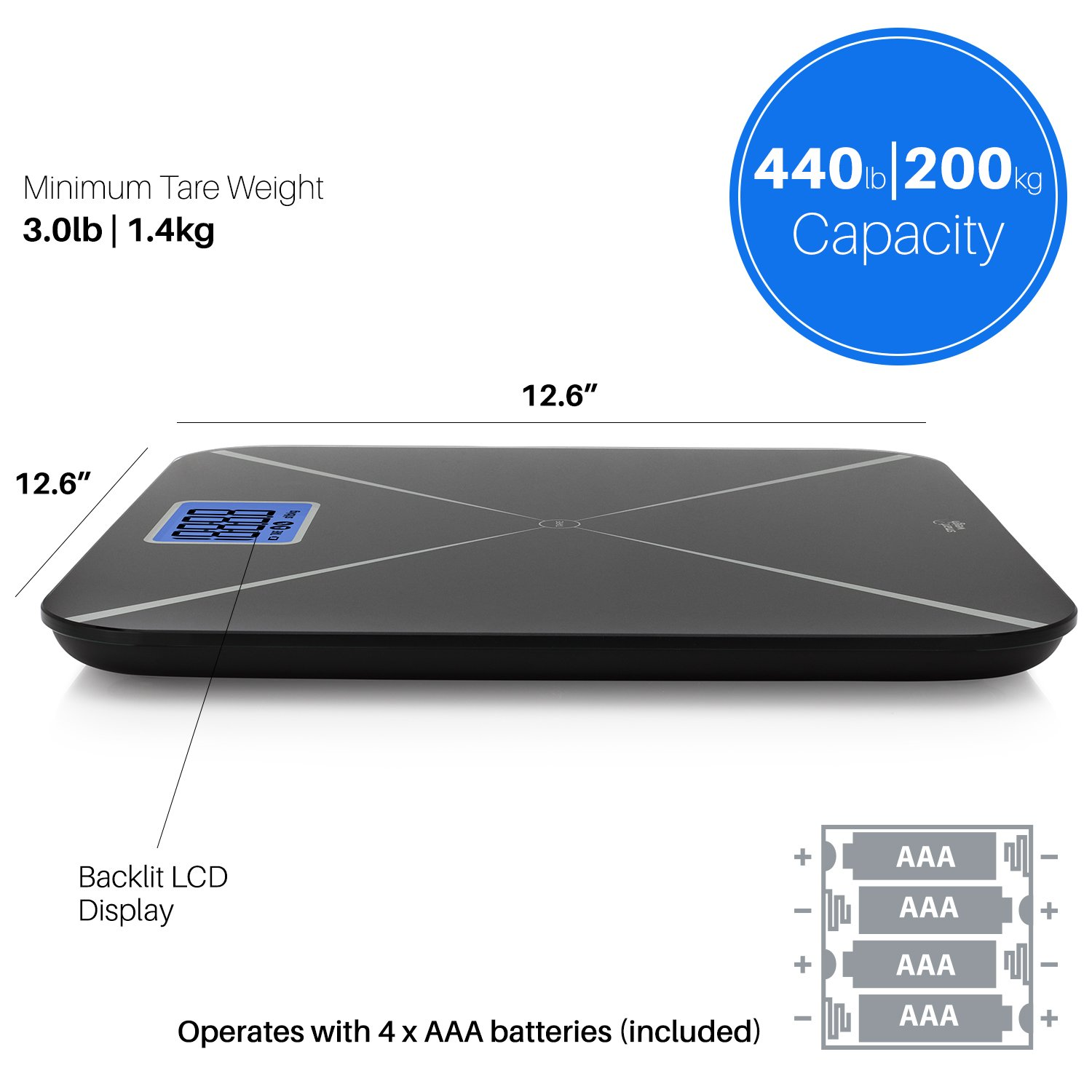 Smart Weigh Digital Body Weight Scale with Baby or Pet Tare Weighing Technology, Bathroom Scale with Large LCD Display and Tempered Glass Platform, 440lbs/200kg Capacity (Black) by Smart Weigh (Image #8)
