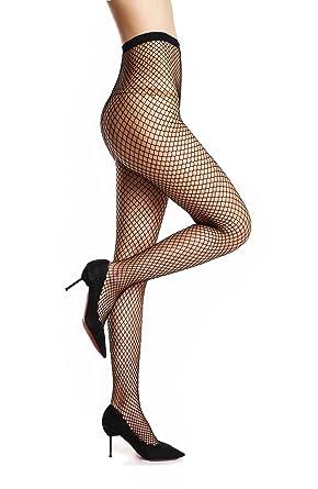 AMORETU Femme Collant Résille Noir Maille Sexy Fantaisie Bas Resille  élastique Collants 6d2c083a24c