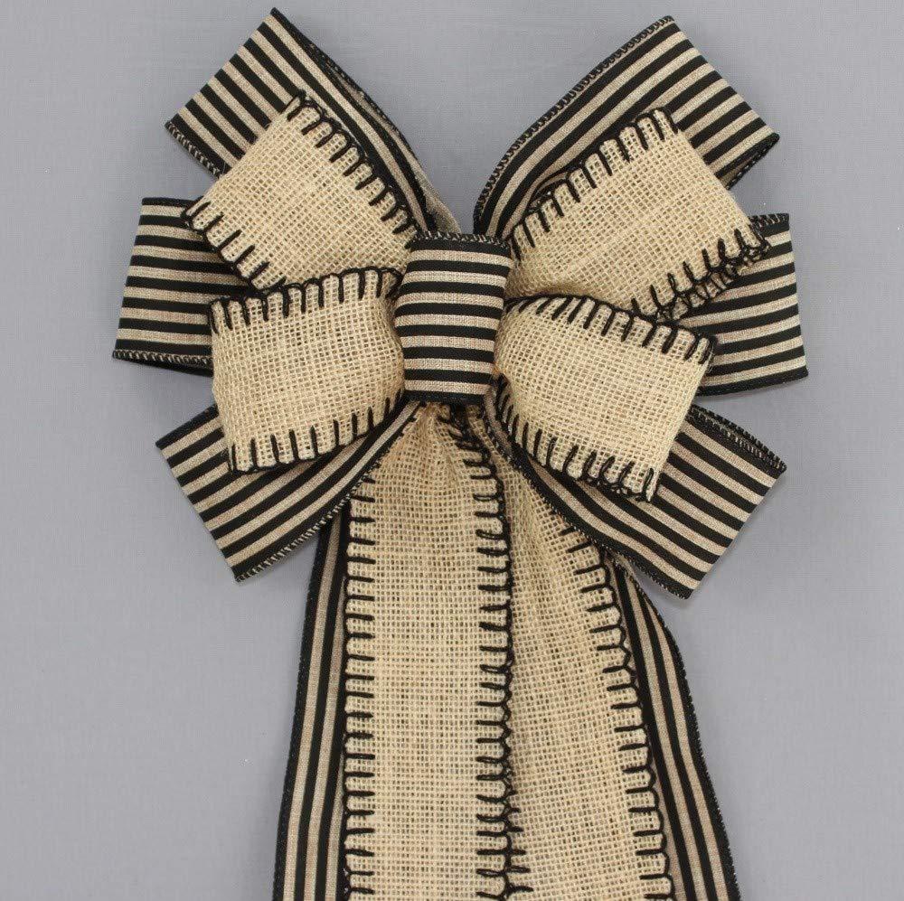 Burlap Black Natural Stripe Wreath Bow - 10'' wide
