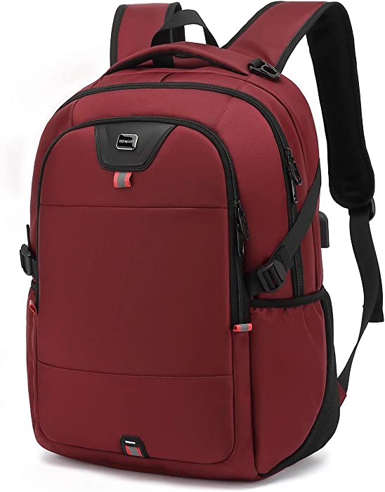 Laptop Backpack Water Resistant Backpacks Durable College Travel Daypack Anti Theft with USB Charging Port for 15.6 Inch Laptops Best Gift for Men Women Boys Girls Students(15.6 Inch, Red)