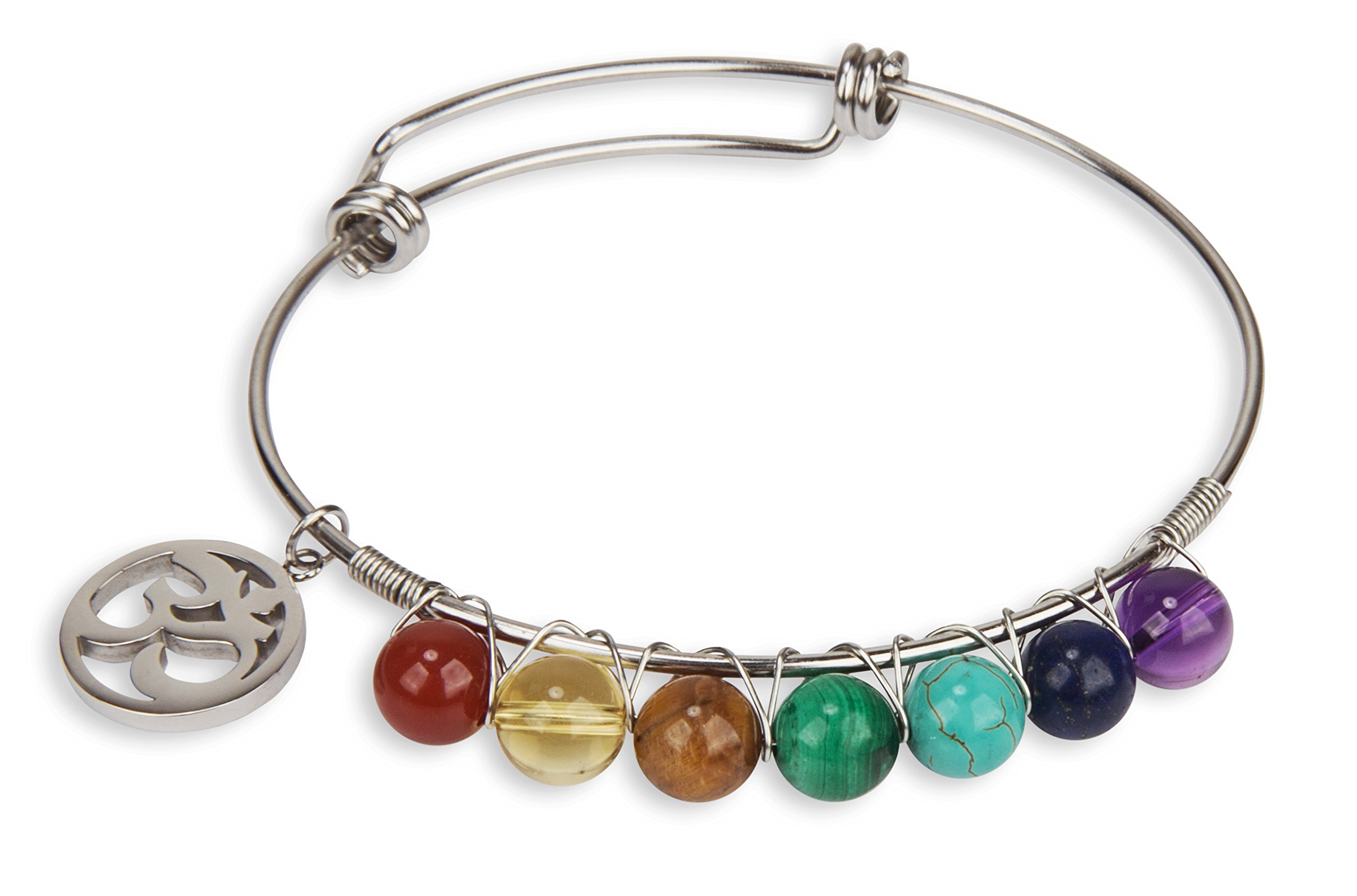 SPUNKYsoul 7 Chakra Stone Genuine Crystal Bracelet Bangle with Om Charm Stainless Steel for Women Collection