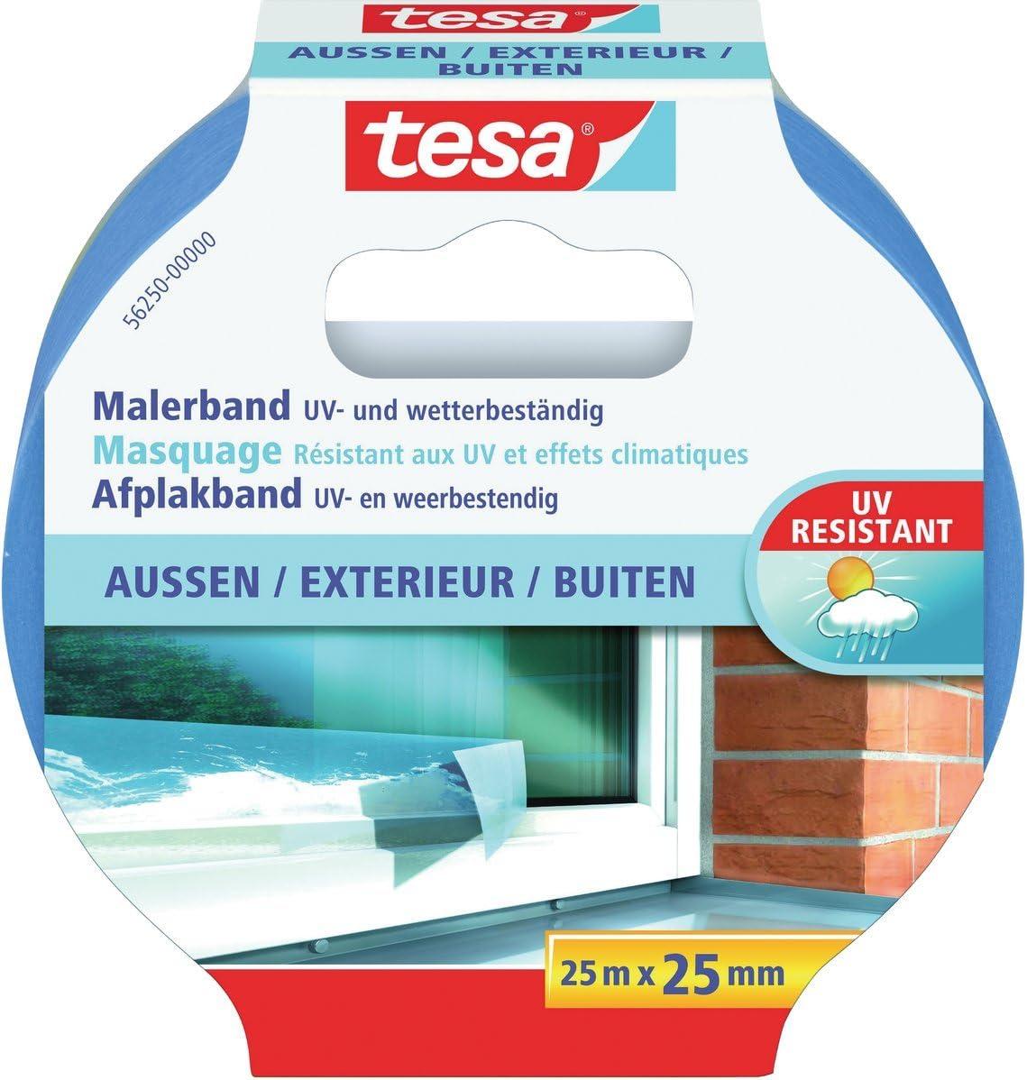 25m : 25mm, 2 Rollen tesa Malerband f/ür Au/ßen und wetterbest/ändig UV