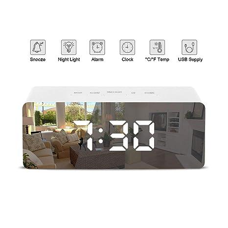 Patasen Reloj con Alarma LED Digital Reloj con batería Reloj con Temperatura de la Noche Luces para Dormitorio Sala de Estar, Oficina, Viajes: Amazon.es: ...