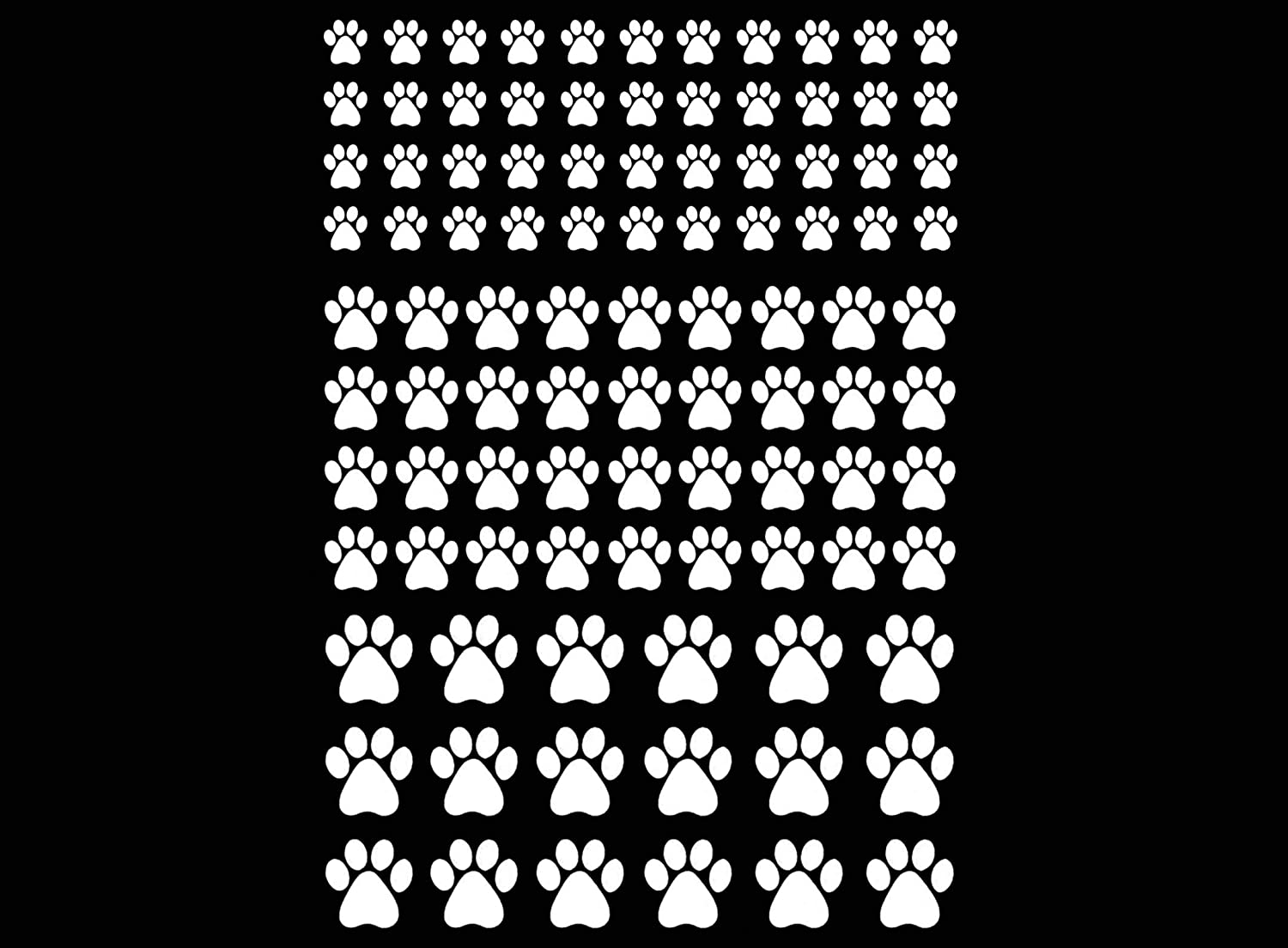 3//8 1//2 White Fused Glass Decals 19CC1123 Must be Fired Tiny Pet Paw Prints 98 pcs 1//4