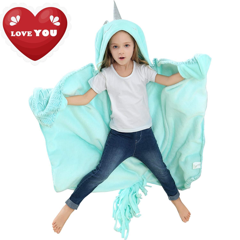 Brandream Unicorn Blanket for Girls Boys Kids/Toddler Blanket, Wearable Hooded Animal Blankets, Mystical Horn, Magic Feather Pattern, Soft Cozy Fleece Blanket by Brandream