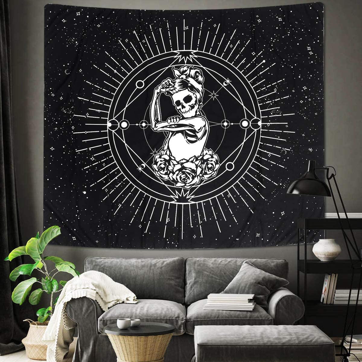 Jeteven Tapestry Wall Hanging, Black and White Skull Print Tapestry Bedroom Home Decor Polyester Hanging Tapestry Chakra Starry Skeleton Tapestry, 78''×59''
