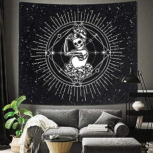 Jeteven Tapestry Wall Hanging, Black and White Skull Print Tapestry Bedroom Home Decor Polyester Hanging Tapestry Chakra Starry Skeleton Tapestry, 78''×59''