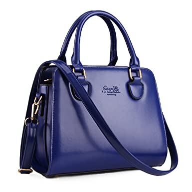b51bc16aa5 Amazon.com  Minch Women PU Leather Designer Tote Handbags Shoulder Bags for  Work on Clearance (Blue)  Clothing