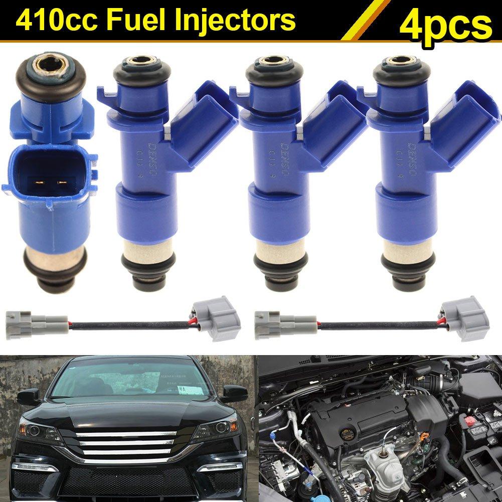 Rokoo 4 pi/èces Nouveaux Injecteurs de carburant 410cc avec Adaptateurs Plug /& Play pour Honda Acura RDX