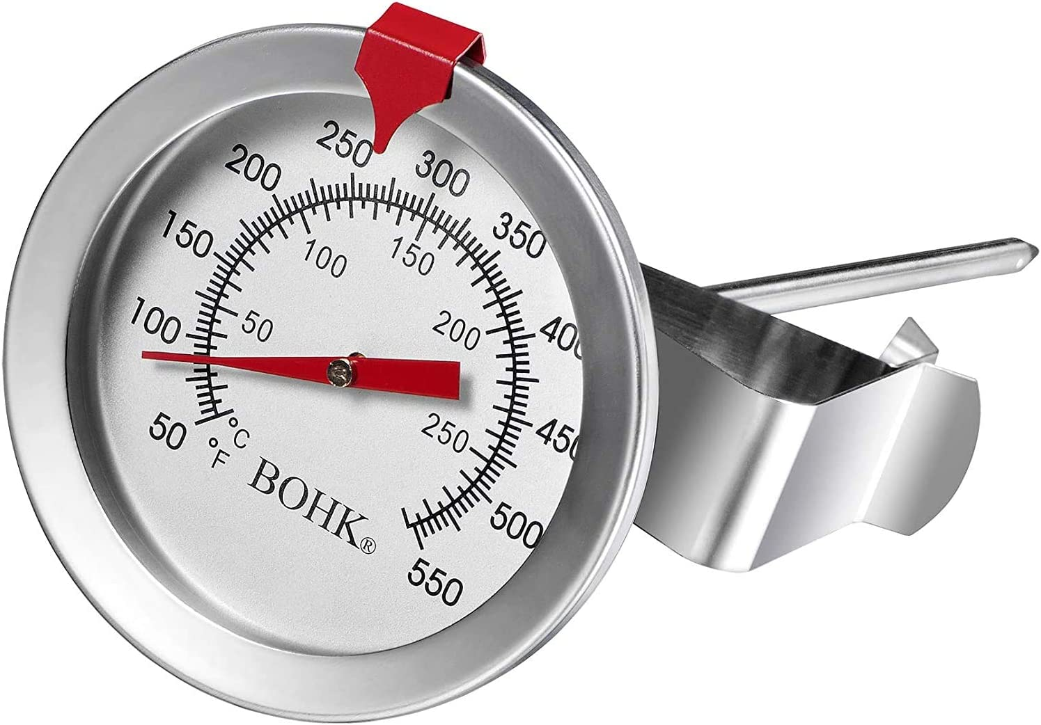 BOHK Handy Deep Fry Meat Turkey Thermometer with 2 Inch Dial Red Indicator Stainless Steel for BBQ Grill Pot Pan Kettle 50℉-550℉ (1, 8 Inch)