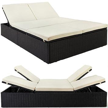 lit de jardin double en polyrotin ajustable coussins crme 7 cm paisseur canap terrasse - Lit De Jardin