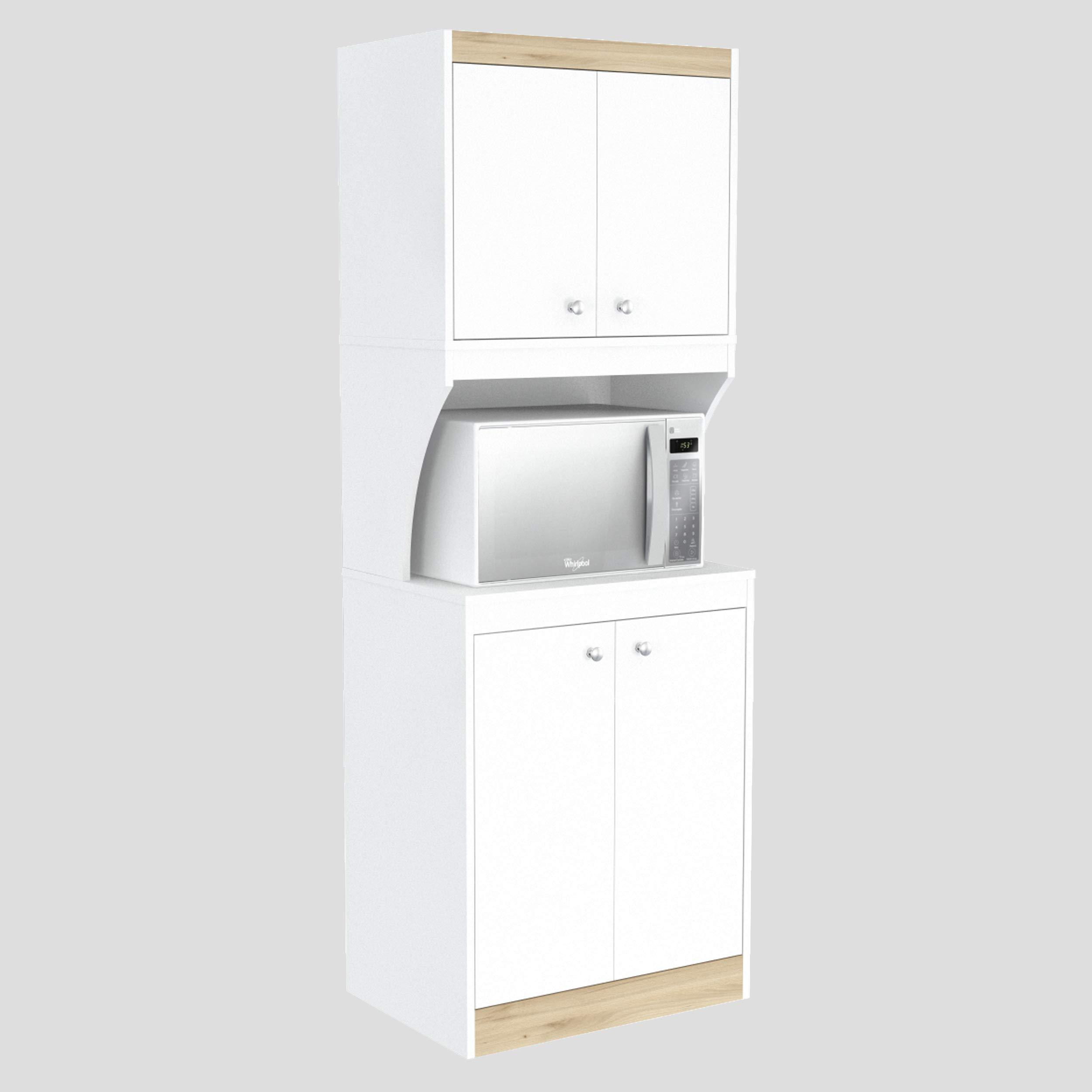 Inval AL-3513 Galley Kitchen/Microwave 4-Door Storage Cabinet, White & Vienes Oak