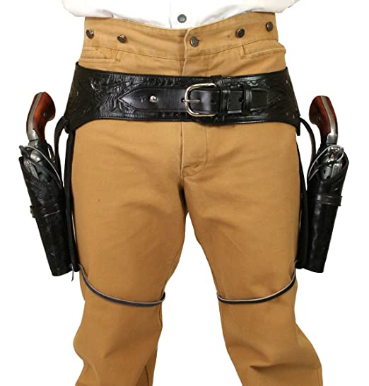 Men's Steampunk Goggles, Guns,  Accessories  Leather Western Gun Belt and Holster .22 cal $162.95 AT vintagedancer.com