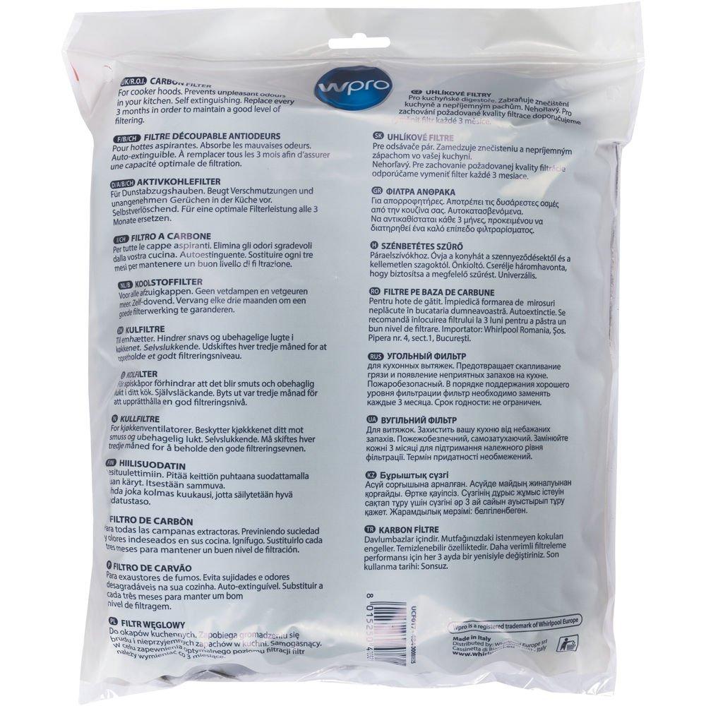 Wpro ucf017 – Campana accesorios/filtro de carbón activo/Universal/Recortable