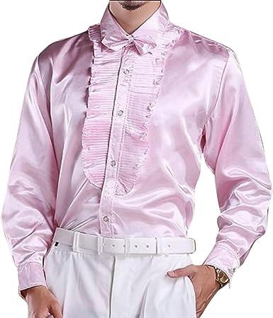 Heless Mens Long Sleeve Lapel Neck Print Casual Slim Fit Button Down Dress Shirt