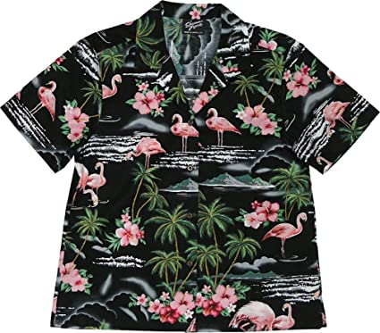 84859903d RJC Women's Flamingo Paradise Hawaiian Camp Shirt at Amazon Women's ...