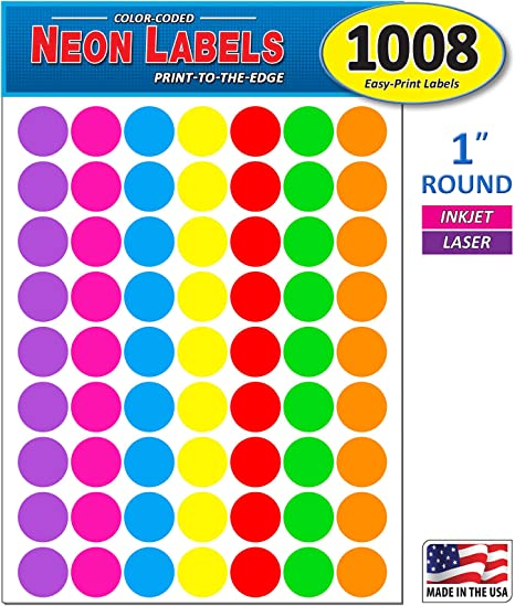 """1//4/"""" PINK Round Color Coding Inventory Label Dots Stickers MADE IN USA"""