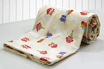 5b17df1ea0 AURAVE Kid's Funky Owl Cartoon Print Cotton Single Bed Duvet Cover with  Zipper -Cream