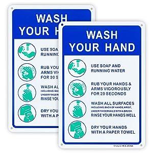 2 Pack Hand Washing Sign, Handwashing Instruction Sign, 10