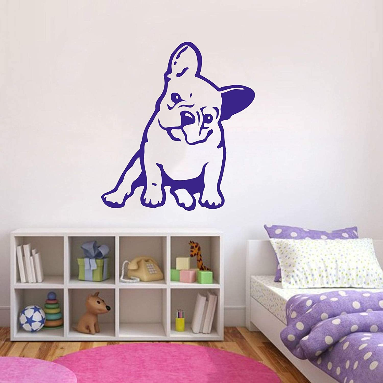 Cartoon Large French Bulldog Wall Decal Cute Puppy Dog Decal Lovely Bulldog Pet Animal Wall Sticker Art Vinyl Kids Room Home Decor Made in USA