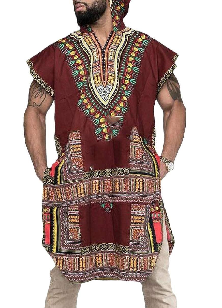 YIhujiuben Men African Print T-Shirt Summer Hoodie Pullover Short Sleeve Top