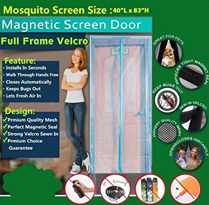 Mosquitera para puerta – Mag cortina de malla de marco completo con gancho y cinta de