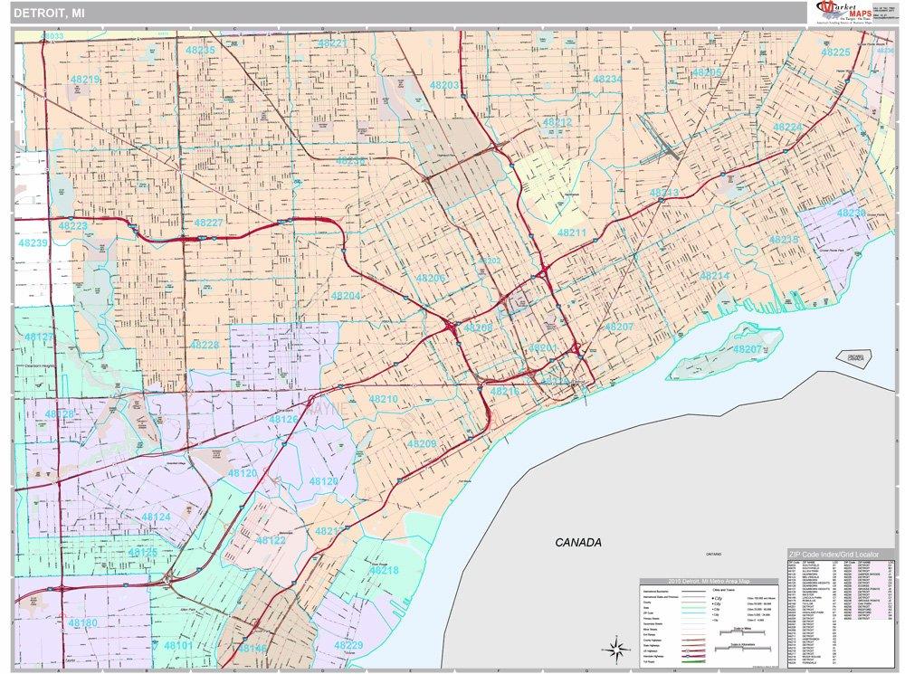 48223 Zip Code Map.Amazon Com Detroit Mi City Wall Map Premium Style Mounted 48x64