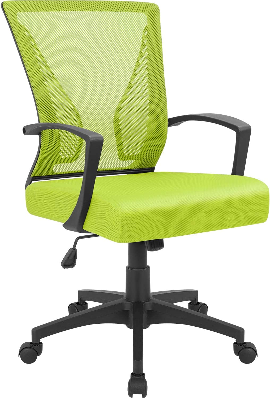 Furmax Office Chair Mid Back Swivel Lumbar Support Desk Chair, Computer Ergonomic Mesh Chair with Armrest (Cyan)