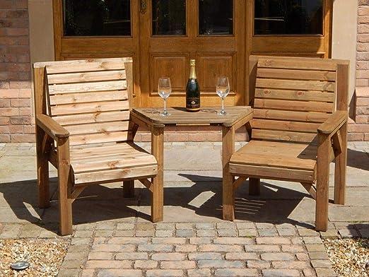 Madera Muebles de jardín Premium Patio Twin Set 2 sillas + Bandeja extraíble Jack + Jill recto: Amazon.es: Jardín