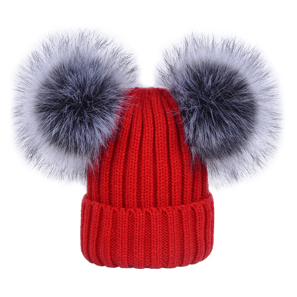 20d06ead0 Women's Winter Ribbed Knitted Faux Fur Double Pom Pom Beanie Hat Red
