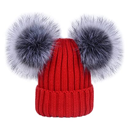 f1a19974093 Women s Winter Ribbed Knitted Faux Fur Double Pom Pom Beanie Hat Red   Amazon.ca  Luggage   Bags