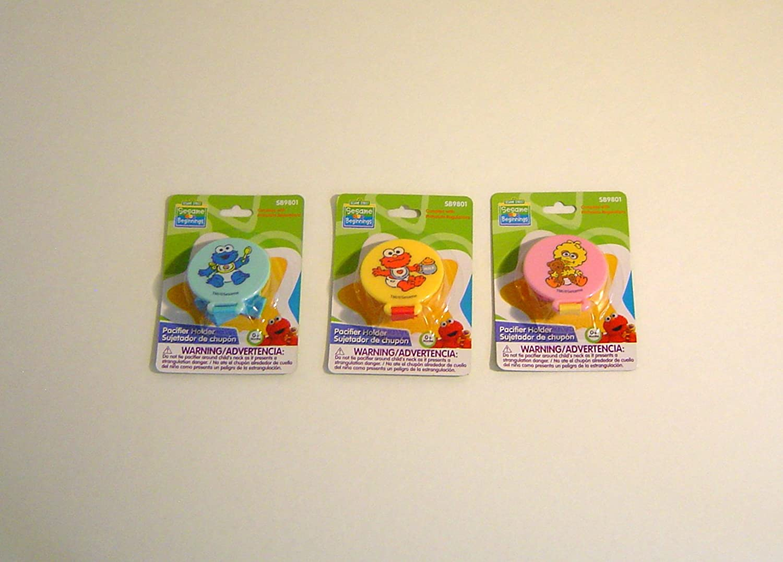 Amazon.com: Sesame Street Pacifier Holder 3 PC Bundle, Elmo, Cookie Monster, Big Bird, Sesame Beginnings, Great Baby Shower Gift: Baby