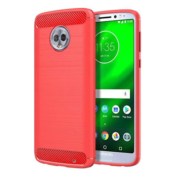 premium selection 33389 a63f6 Moto G6 Case, Moko Flexible TPU Bumper Slim Fit Case Carbon Fiber Design  Lightweight Shockproof Back Cover Motorola Moto G6 5.7 inch 2018, RED