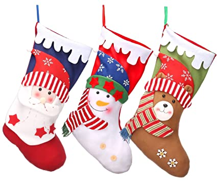 3 pcs christmas stockings 18 xmas party mantel decorations ornaments santa snowman bear style