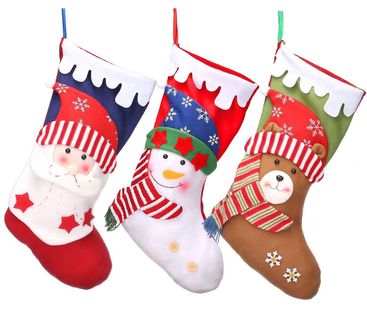 3 PCS Christmas Stockings 18'' Xmas Party Mantel Decorations Ornaments - Santa Snowman Bear Style