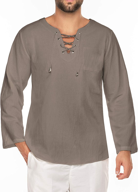 JINIDU - Camiseta de algodón y lino para hombre, diseño hippie, cuello en V, camiseta de yoga