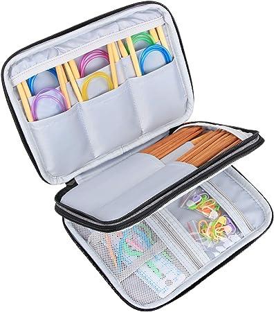 Luxja Estuche para Ganchillos(hasta 8 pulgadas) Bolsa de Viaje para Tejer Organizador para Costura(Sin accesorios), Gris: Amazon.es: Hogar