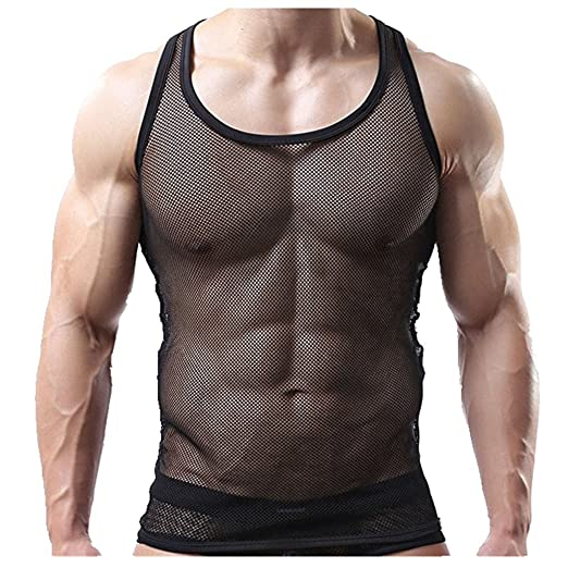 b6ddafb9727f7 Igeon Sexy Men s Underwear Transparent Vest Tank Top Mesh Fishnet  Undershirt Black Medium