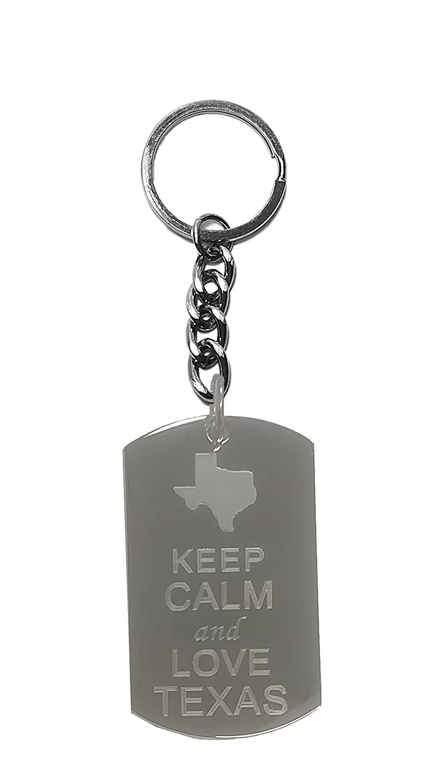 Hat Shark Keep Calm and Love Texas State Logo Metal Ring Key Chain Keychain