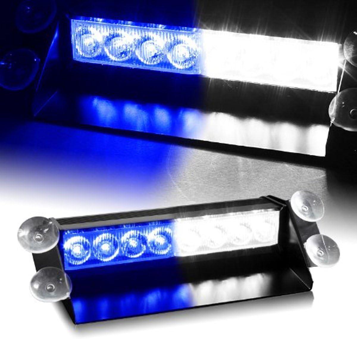 Anzene 8 LED 12V pare-brise voyant davertissement de voiture de voiture int/érieur stroboscopique durgence stroboscopique rouge